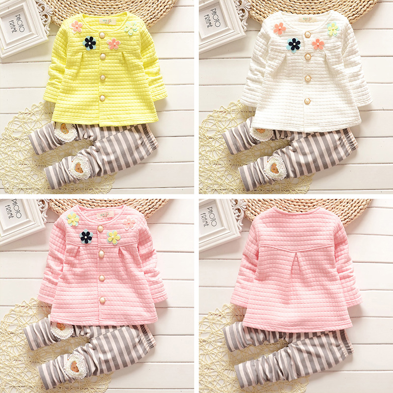 Fashion Baby toddler girl clothes kids outfits vest spring autumn 3 colors soft cute flower knit& pants suits casual 80- 110cm
