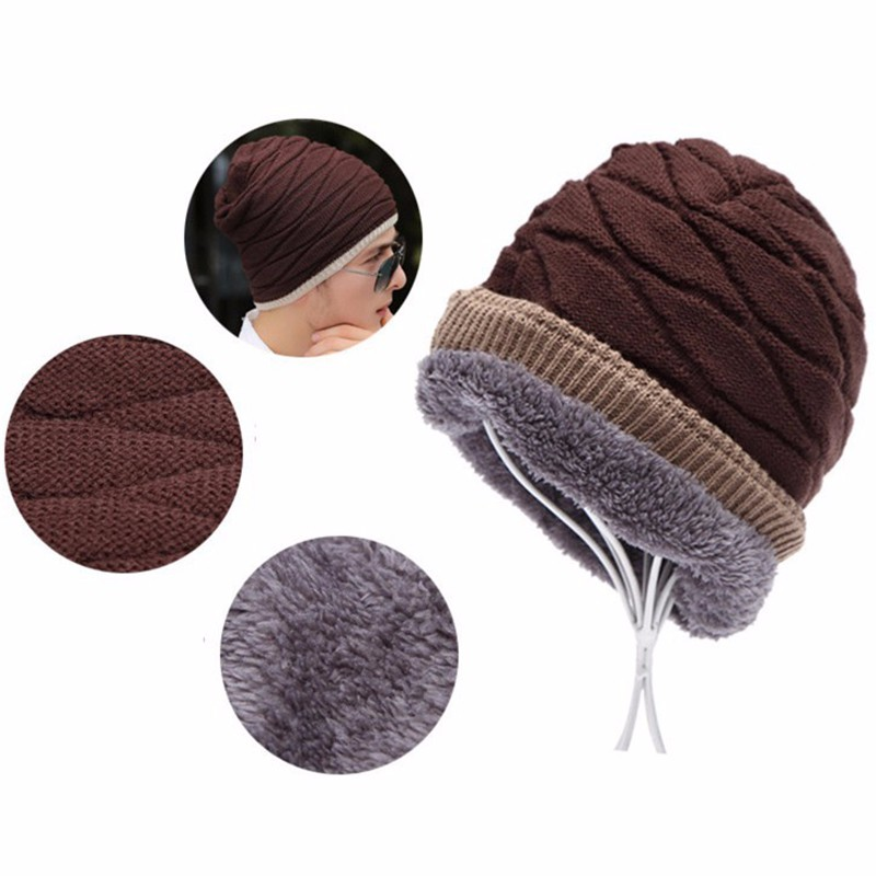 ALLKPOPER Beanie Winter Warm Hats & Caps Men Stocking Hat Beanies stripe Knitted Hiphop Hat male Female Warm wool Cap Gorro Bone