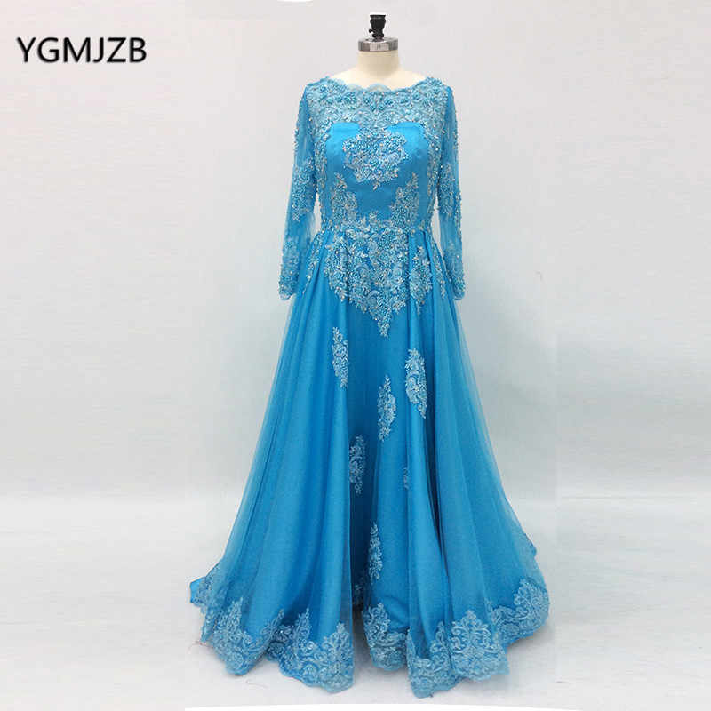Long Sleeves Prom Dresses 2018 A line Beaded Lace Appliques Blue Arabic  Women Formal Party Evening 68920c8d3123