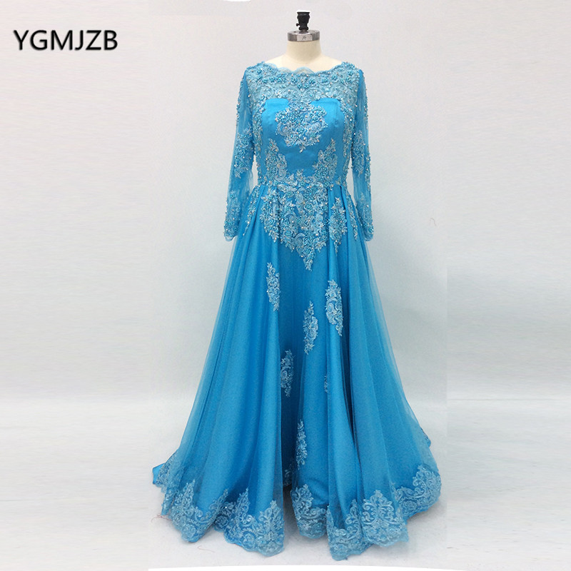 Long Sleeves   Prom     Dresses   2018 A line Beaded Lace Appliques Blue Arabic Women Formal Party Evening Gowns Vestidos De Festa