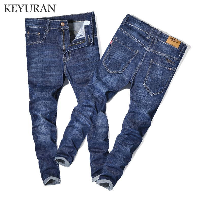 2018 New Men Jeans Business Casual Thin Summer Straight Plus size Fit Blue Jeans Stretch Denim Pants Trousers Cowboys Young Man