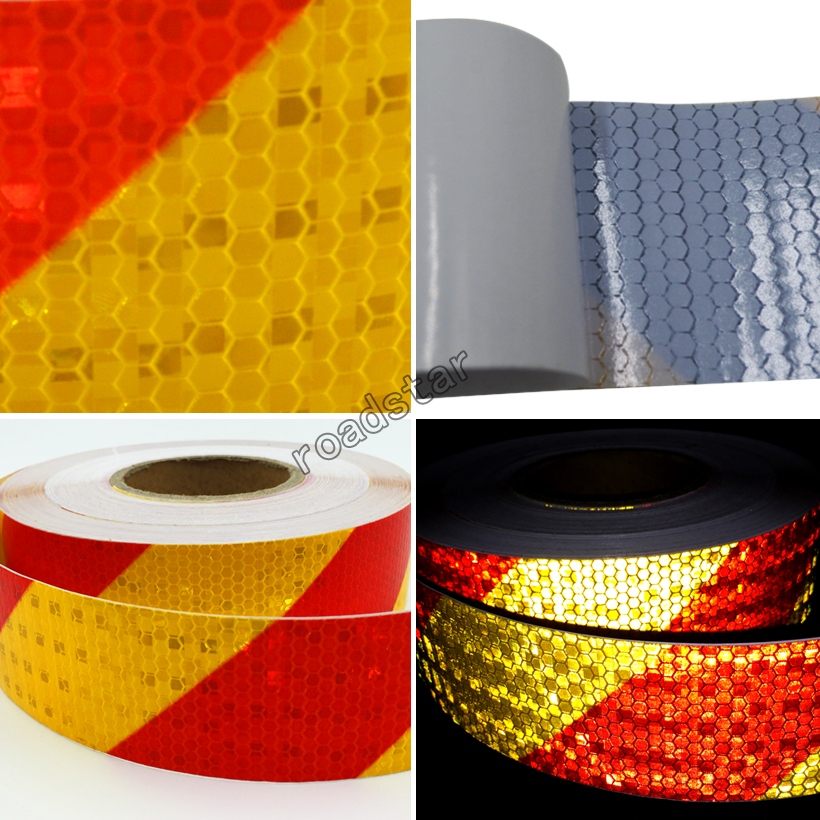 Купить с кэшбэком 5cmx50m  PVC Safety Reflective Warning Tape Conspicuity Film Sticker Multicolor