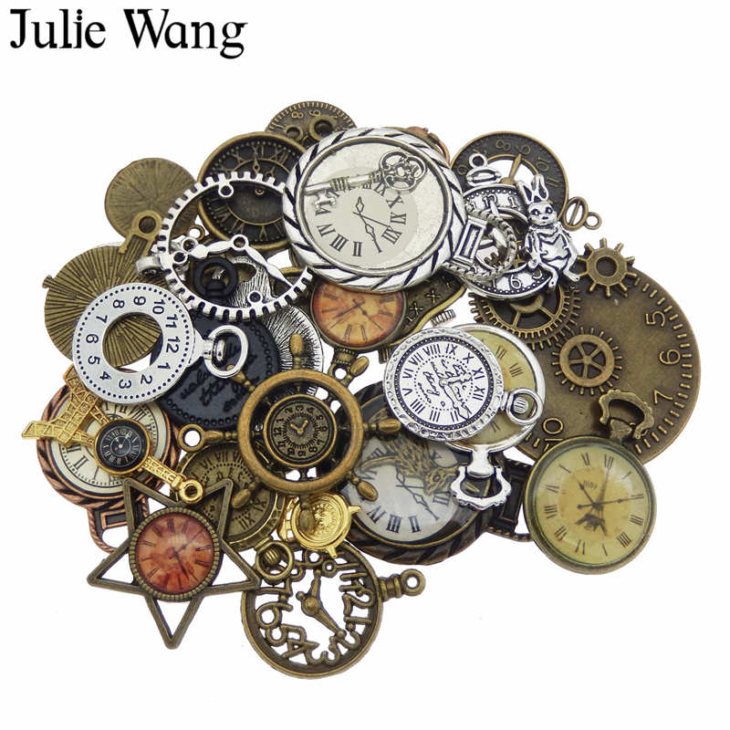 Julie Wang 10pcs Random Mixed Clock Watch Face Charms Alloy Necklace Pendant Finding Jewelry Making Steampunk Accessory