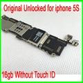 Sem touch id para iphone 5s motherboard, 16 gb desbloqueado original para iphone 5s motherboard sem impressão digital por frete grátis