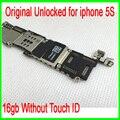 Sin touch id para iphone 5s motherboard, 16 gb abierto original para iphone 5s motherboard sin huellas dactilares por el envío libre