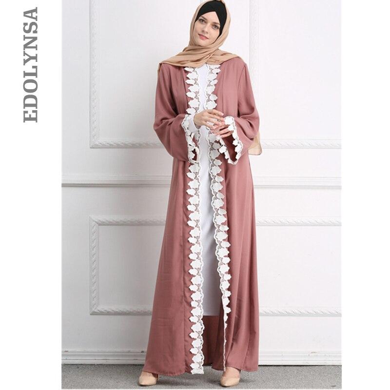 US $34.44 46% OFF|Pink Front Open Abaya In Dubai Kimono Embroidery Belted  Dubai Dress Plus Size Islamic Indonesia Saudi Arabia Clothing 2020 D526-in  ...