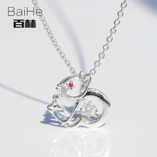 BAIHE Solid 14K White Gold 0 08ct Certified H SI Round 100 Genuine Natural Diamonds Wedding