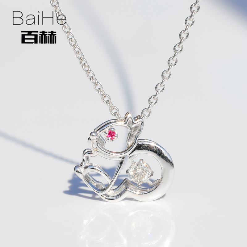 BAIHE Solid 14K White Gold 0 08ct Certified H SI Round 100 Genuine Natural font b