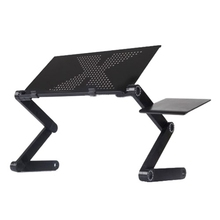 Black 360 degree Adjustable foldable laptop Notebook Desk Table Fan Hole Stand Tray