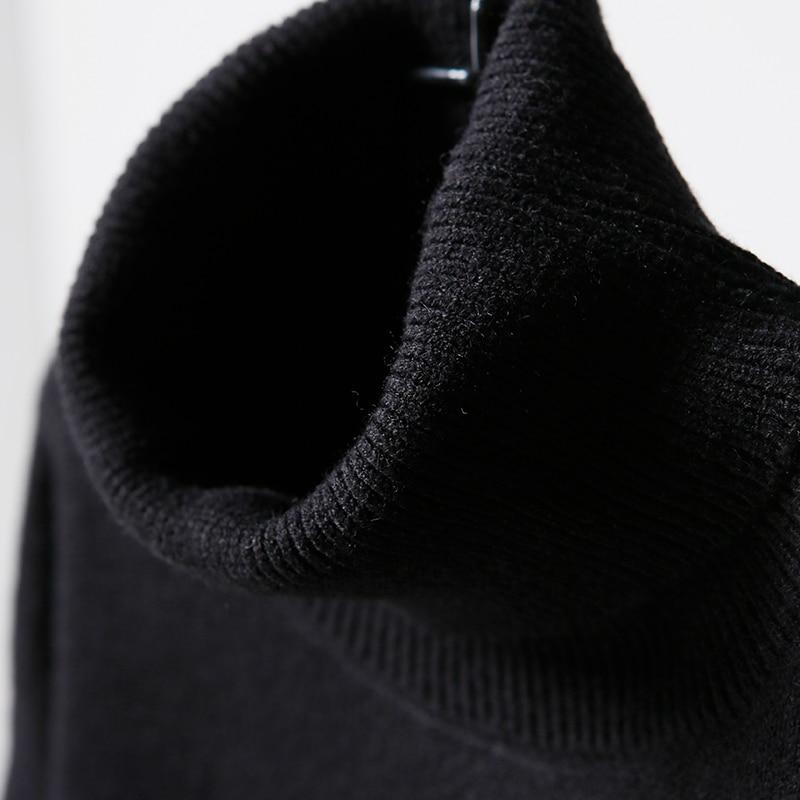 Grande Correspondant De La Couleur Dans Version Pull Fond Taille Le À M5662 Long Épaississement Col Coréenne Numérique Black Haut ctqw4ESY