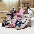 2017 primavera nueva pink girls shoes arco de cuero de cuero a prueba de agua inferior de cuero muchacha de la princesa shoes niños formal shoes