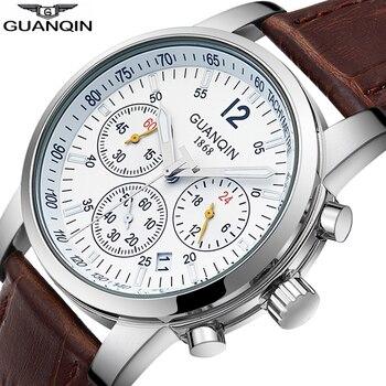 Relogio masculino GUANQIN 2018 Fashion Sport Mens Watches Top Brand Chronograph Quartz Watch Men Calendar Luminous Waterproof