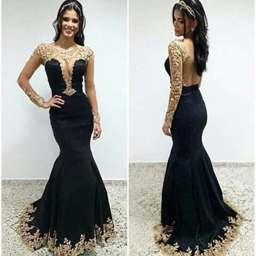 Vestidos de noche color negro con dorado