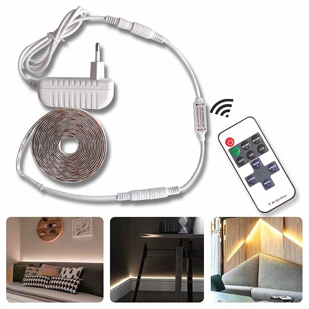 Tira de luz LED SMD2835 regulable impermeable Blanco/blanco cálido DC12V Control de brillo regulador RF 10key iluminación de fondo remoto Kit completo de sala de tienda de cultivo sistema de cultivo hidropónico 1000W LED Luz de cultivo + 4