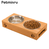 Petminru Pet Dog Bowl Bamboo Stainless Steel Double Food Water Teddy Dog Feeder Cat Bowl Pet