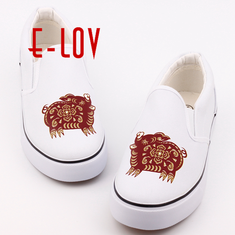 E-LOV Personality Design Chinese Style 12 Symbolic Animals Printed Canvas Shoes Women Girls Casual Loafers Flat Lazy Shoes 27cm sexy skytube t2 art girls tony sailor tiger sexy girl anime action figure pvc collection toys for friend gift wx211