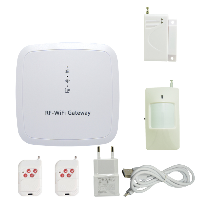 New Smart Home security RF WIFI gateway Alarm system with APP Control Door open alarm Self defense smoke fire alarm detector
