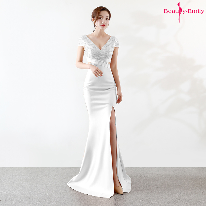 Beauty Emily Sexy Long V Neck Evening Dresses White Sleeveless Mermaid Party Dress High Split Open Back Rhinestones Prom Gowns
