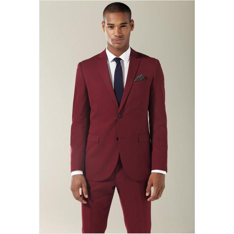 High Quality 2017 Wine Red Groom Mens Tuxedos Custom Made Notch Lapel Wedding Men's Suits Bridegroom Men Suit (Jacket+Pant+tie)