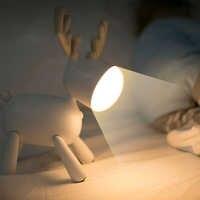 Criativo Cão Veados Forma USB Luz Noturna Inteligente Lâmpada de Leitura Iluminação Mesa Tabela do Presente Decor Home Decor Novidade Bonito