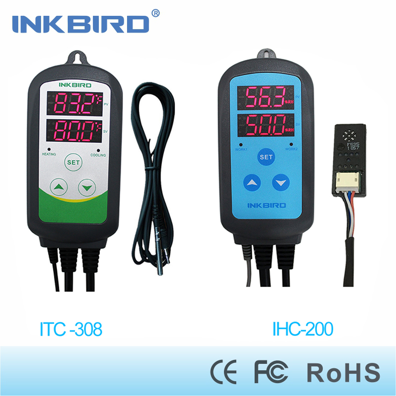 Inkbird Combo Set Pré-wired Digital Dural IHC200 Fase Controlador de Umidade e Controlador de Temperatura De Refrigeração Aquecimento ITC-308