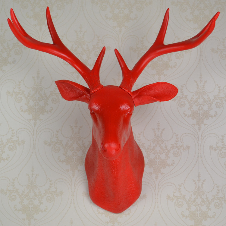 EALISEN wall hanging red whitetail buck bust deer head trophy hunt sculpture faux taxidermy with antlers as modern home decor