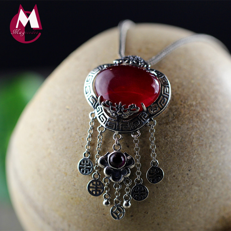 Natural Red Jade Tassel Pendant 100% Real 925 Sterling Silver Necklaces Women Trendy Handmade Vintage Coin Fine Jewelry SP01