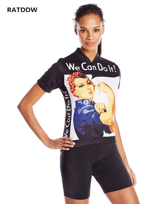 우리는 그것을 할 수 있습니다 여성 사이클링 저지 짧은 소매 자전거 유니폼 자전거 의류 / 스포츠 자전거 의류 빠른 건조