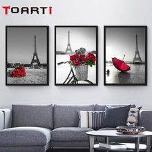 Wall Art Pictures Eiffel Tower Red Umbrella On Paris Street Modern Urban Landscape Poster Canvas Painting Living Room Decor gift(China)