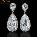 Luxury Silver Plated White Cubic Zirconia Crystal Long Tear Drop Dangle Earrings For Women Jewelry Gift (CZ058)