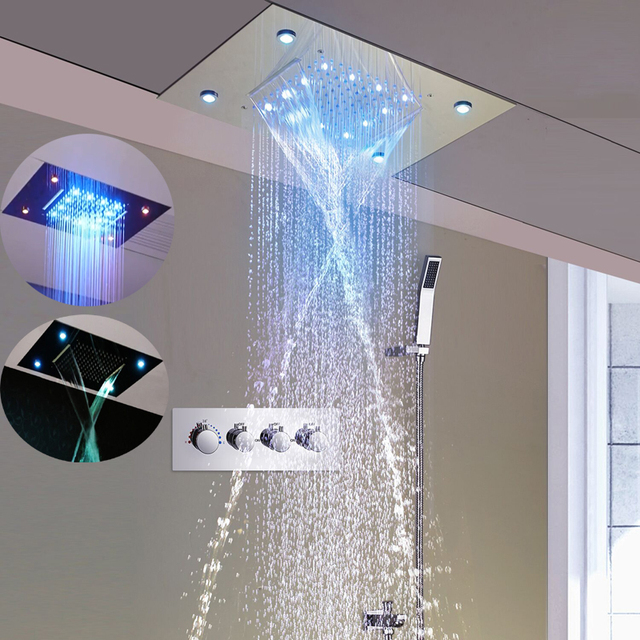 3 Way Faucets Spa Rain And Waterfall Shower Head Set Ceiling Concealed Tap  Large LED Light