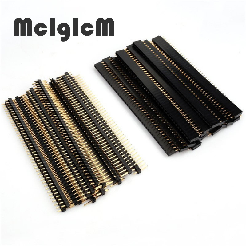 10pcs 2.54mm Connector Male Female Set 40 Pin 1x40 Single Row 2.54 Breakable PCB Connector Strip Pin Header