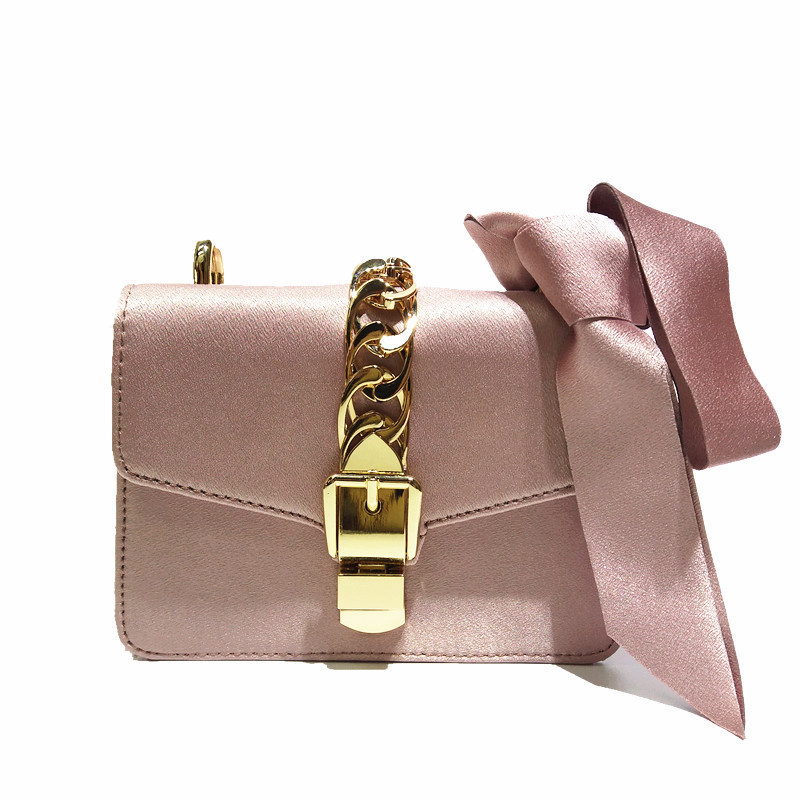 2017 Fashion Hasp Chain Luxury Satin Women Messenger Bags Long Chain Small Flap Shoulder Bags Solid Color Handbags Bolsos Mujer 2017 fashion all match retro split leather women bag top grade small shoulder bags multilayer mini chain women messenger bags