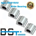 Free Shipping 4pcs x SC16UU SCS16UU 16mm Linear Ball Bearing Housing