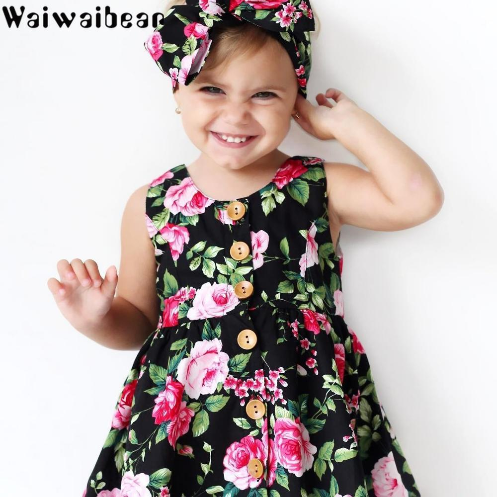 Dresses Girls' Clothing Waiwaibear Summer Baby Kids Girls Dresses Kids Sleeveless Dresses Costumes Clothes With Button Princess Dress Matched Headband Bracing Up The Whole System And Strengthening It