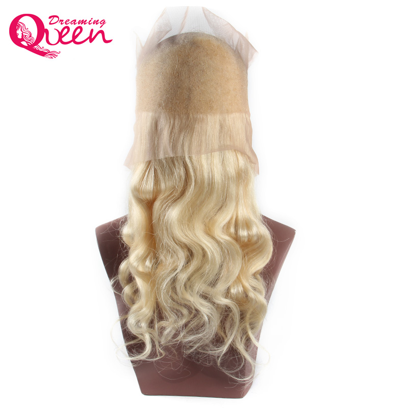 Pre Plucked # 613 360 Lace Frontal Closure Blond Färg Body Wave Hair - Mänskligt hår (svart)