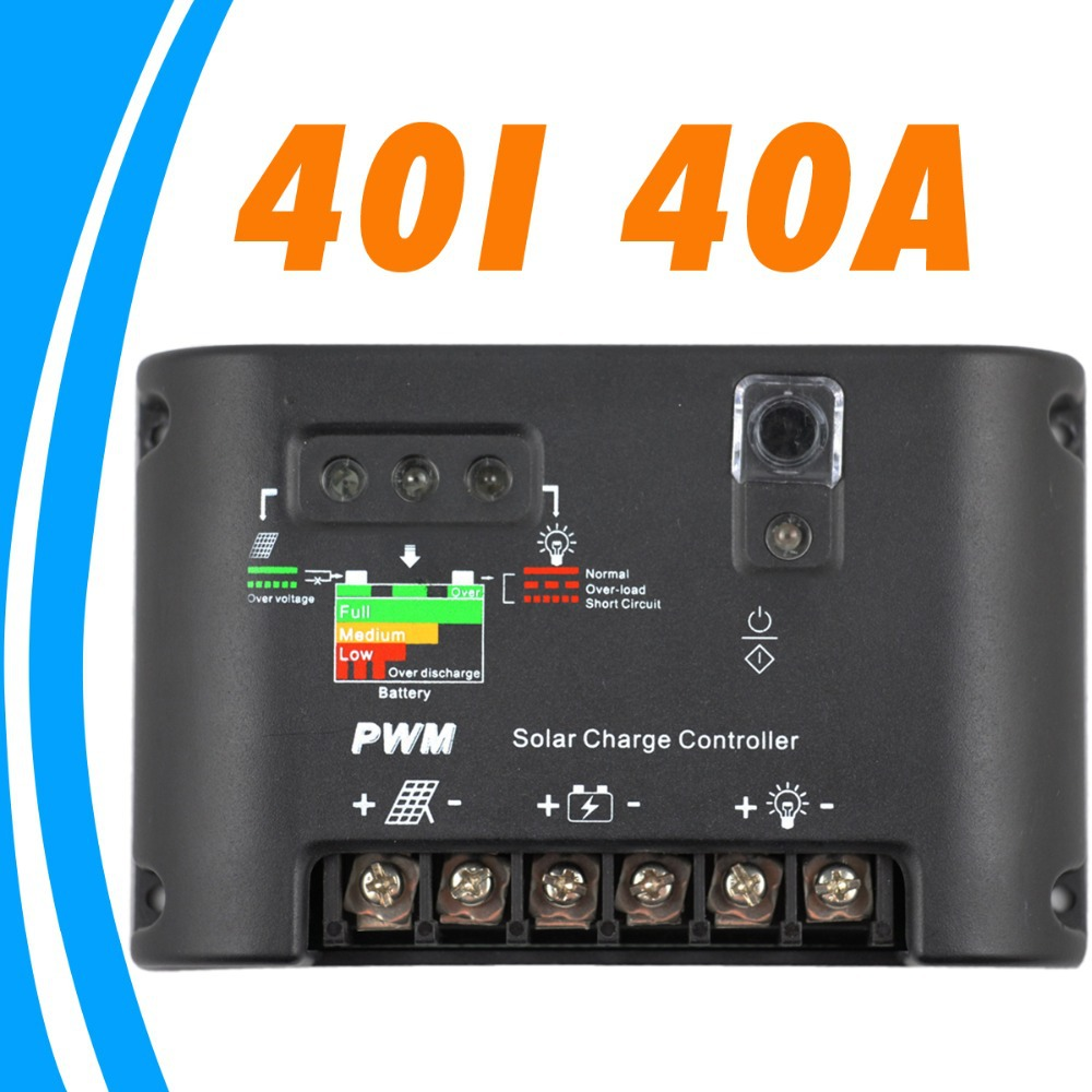 40A Solar Charge Controller 12V 24V solar panel battery charger controller auto work Solar Batteries Charge Discharge controller solar controller 3a 9 6v nimh discharge mode for outdoor surveillance equipment solar charger