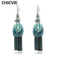 Chicvie винтажные длинные серьги с синими кисточками для самостоятельного