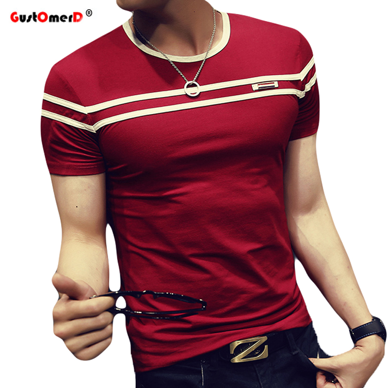 GustOmerD 2018 T-Shirt Mannen Effen Kleur T-shirt Man Mode t-shirt Korte Mouwen Streep Vouw Slim Fit Casual t-shirt man