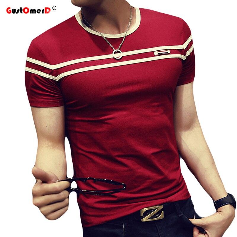 GustOmerD 2018 T-Shirt Men Solid Color T Shirt Man's Fashion T shirt Short Sleeves Stripe Fold Slim Fit Casual tee shirt man