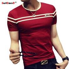 GustOmerD 2018 camiseta hombres, Color sólido, T camisa hombre T, T camisa manga corta raya doble Slim Fit Casual camiseta Hombre