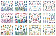 2019 New 12 Sheets BN1201-1212  Mix peacock Nail Art Water Transfer Decal Sticker For Tattoo(12 DESIGNS IN 1)
