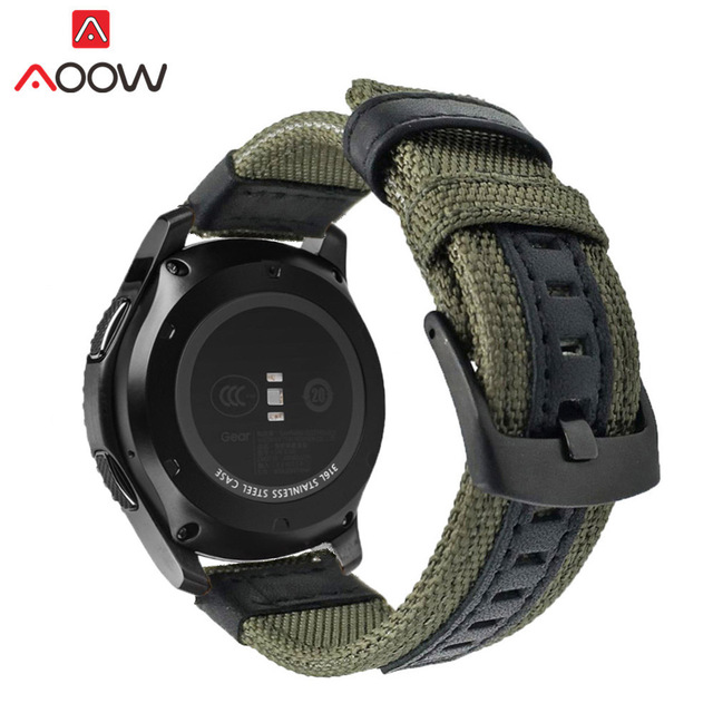 Nylon Leather 22mm Watchband for Samsung Gear S3 Classic Frontier for Ticwatch H
