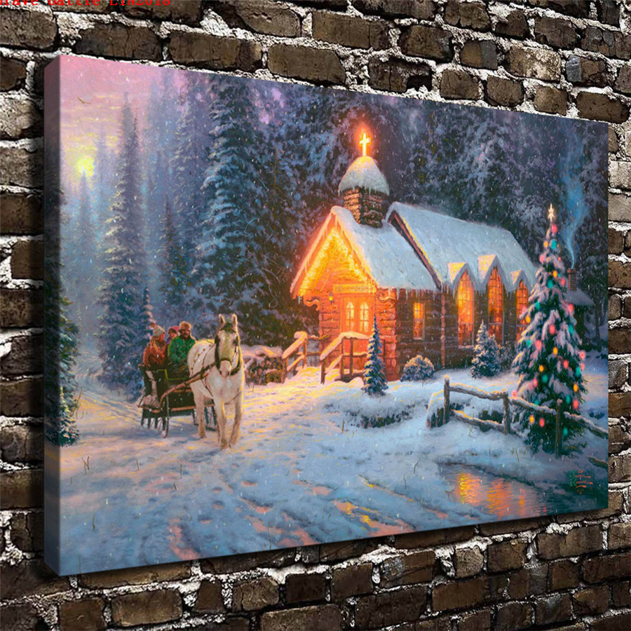 Thomas kinkade christmas chapel canvas painting print - Home interiors thomas kinkade prints ...