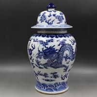 Jingdezhen ceramic jar Kangxi's year mark blue and white double dragon pattern general tank antique porcelain household