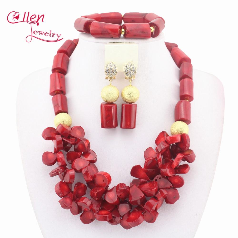 Magnifique!! ensemble de bijoux perles africaines 2019 ensemble de bijoux nigérians fête africaine Orange perles de cristal parure de bijoux W9896