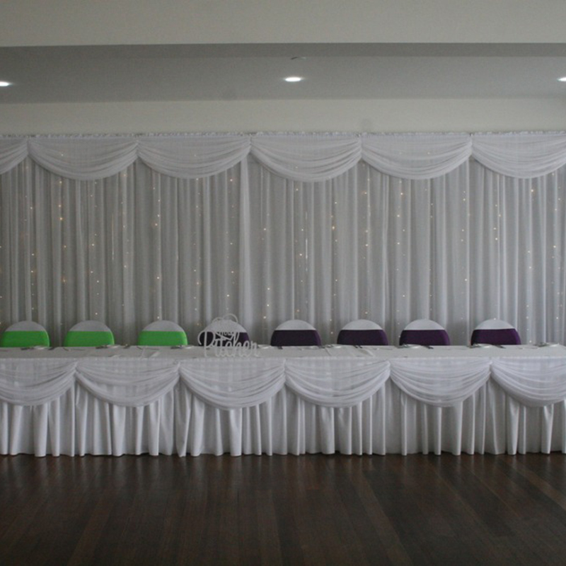 20ft Length White Ice Silk Solid Table Skirt With Swag For Wedding Decoration Event Party Banquet Table Skirting
