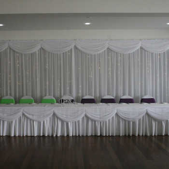 20ft length white ice silk solid table skirt with swag for wedding decoration event party banquet table skirting - DISCOUNT ITEM  0% OFF All Category