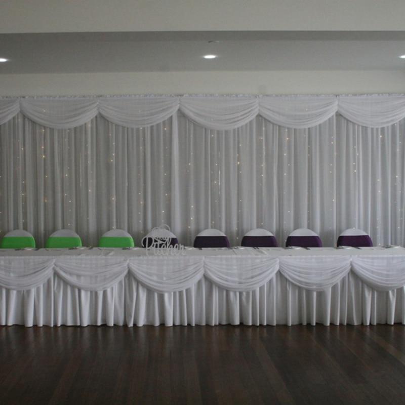 Jupe de table solide en soie blanche de glace de longueur de 20ft avec le swag pour la décoration de mariage