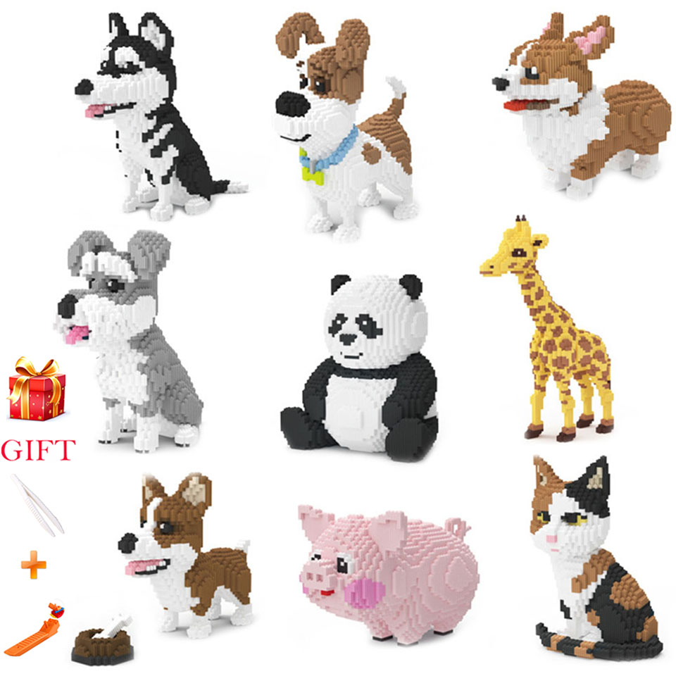 Lepined Pet Dog Building Blocks Model Large Size Panda Giraffe Husky Corgi Schnauzer Persian Cat Animal Model Kids Toys GiftsLepined Pet Dog Building Blocks Model Large Size Panda Giraffe Husky Corgi Schnauzer Persian Cat Animal Model Kids Toys Gifts